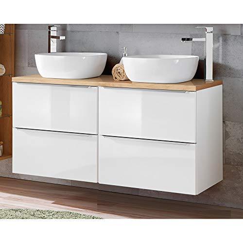Lomadox Badmöbel Doppel-Waschtisch Set, 121cm Waschtischunterschrak in Hochglanz weiß mit Wotaneiche, inkl. 2 Keramik Aufsatzwaschbecken