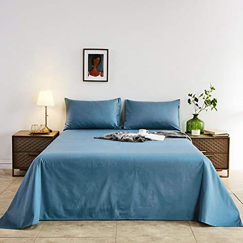 Colcha de Color de Pigmento Puro 1.5M1.8M2M, sábanas Gruesas de 100% algodón, Ropa de Cama para el hogar Funda de Almohada Azul Real * 2