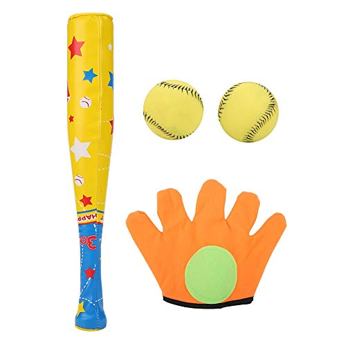Baseball Toy Set 4PCS Glove Magic Paste Design Sports Baseball Toys Soft Baseball Bat Ball Glove Set Great for a Birthday for a Child