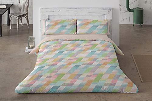 Burrito Blanco Juego de Fundas Nórdicas Juveniles 112 con Estampado Geométrico Moderno para Cama de 150x 190 hasta 150x200 cm. Tejido 100% Algodón. Multicolor.