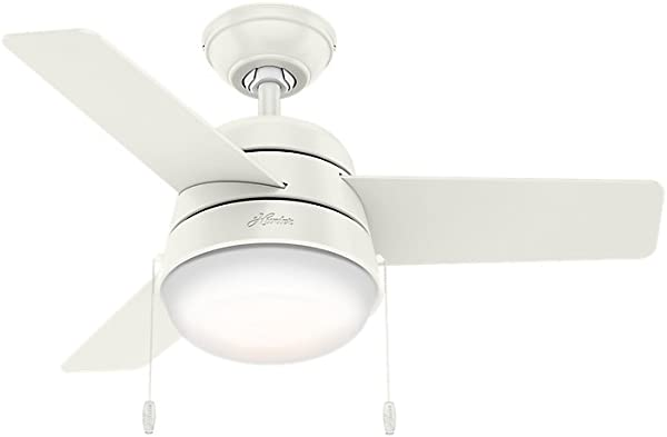 Hunter Indoor Ceiling Fan With LED Light And Pull Chain Control Aker 36 Inch White 59301