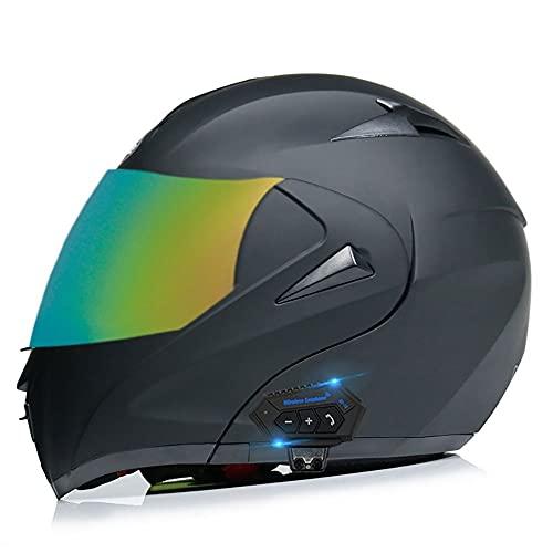 HOMFLOW Casco Moto Bluetooth Integrado, Casco Integral ECE Homologado Casco Moto Cara Completa con Visera Antivaho Doble Frontal Abatible para Hombres Adultos Mujeres