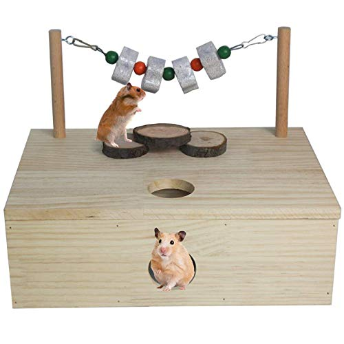Hamiledyi Multi-Chamber Hamster House Maze Multi-Room Wooden Hideouts Tunnel Exploring Toys Small Animal Activity Playground for Hamster Gerbils Mice Lemmings (6-Room Large)
