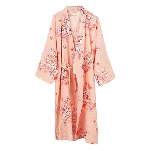 Fancy Pumpkin Damen Kimono Robe Yukata Bademantel Pyjama [Rosa Katze]