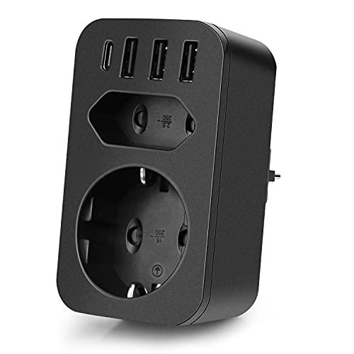 FDTEK Enchufe USB Pared,Ladron Enchufes(4000W) con 2 Tomas AC + 1 Puerto Type-C + 3 Puertos USB,Enchufe Multiple con función de protección Infantil, Apto para Familia y Viajes, Nero