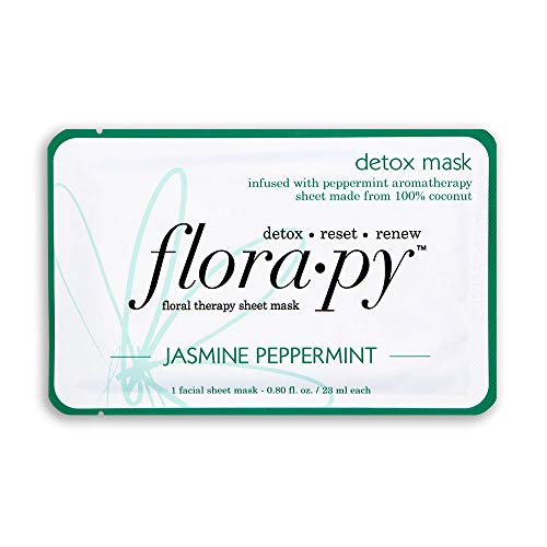 Florapy Beauty Detox Sheet Aromatherapy Mask, Jasmine Peppermint, 1 Count