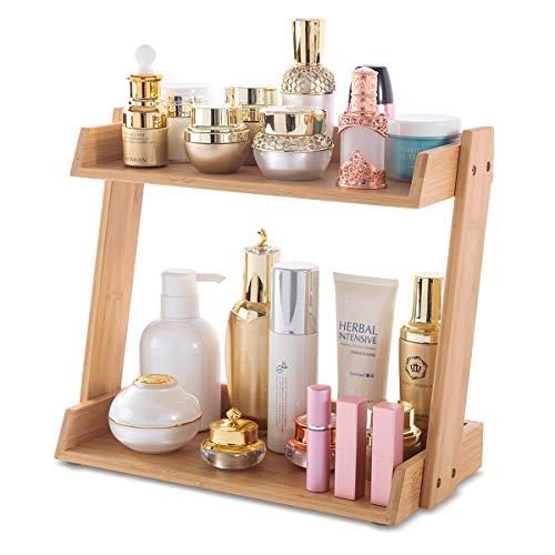 GOBAM Make-up-Organizer, Kosmetik-Aufbewahrungsregal mit 2 Ebenen, großes Fassungsvermögen, Badezimmer-Regal, Arbeitsplatte, einfache Montage, passend für verschiedene Kosmetika, Bambus