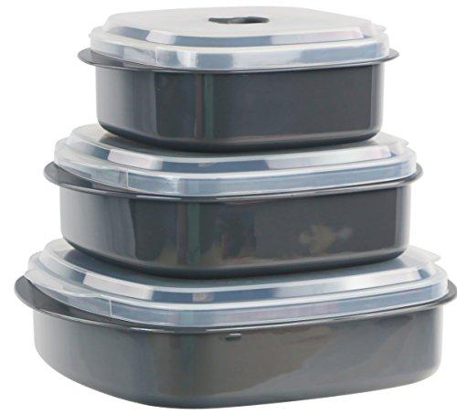 Calypso Basics by Reston Lloyd - Juego de utensilios de cocina para microondas, vaporizador y almacenamiento, color negro, Gris, Variedad de tamaños, 1
