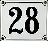 FS - Targa in metallo smaltato, numero civico 28, 12 x 14 cm, colore: Bianco/Nero