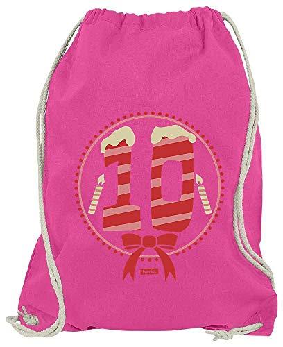 Hariz Bolsa de Deporte con Texto en alemán Ich Bin Schon Zehn, 10 Velas para Tartas, Regalo de cumpleaños, Tarjeta de Regalo, Color Rosa, tamaño Talla única