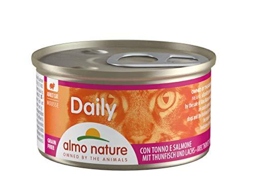 almo nature Daily - Cibo Umido Completo per Gatti Adulti - Mousse con Tonno E Salmone. 24 Lattine da 85G. - 2400 g