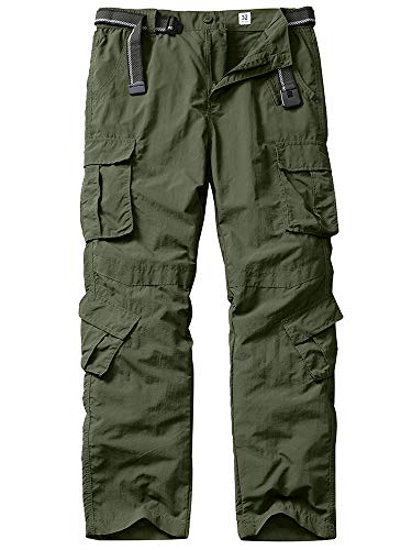 linlon Men's Outdoor Casual Quick Drying Lightweight Hiking Cargo Pants with 8 Pockets,Army Green,32