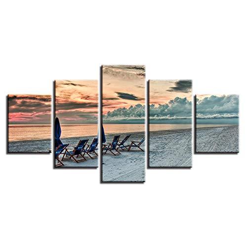Sedie A Sdraio Sulla Spiaggia In Riva Al Mare La Sera 5 Pannelli Di Sfondo Con Quadri Murali Possono Rendere La Decorazione Del Soggiorno Più Moderna