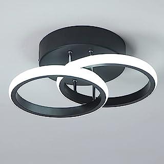 Plafonnier LED 2 Anneaux Mode Nouveau Style Noir Et Blanc Plafonnier D'allée pour Entrée Balcon Couloir Cuisine Salon Écla...