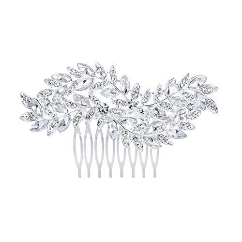 EVER FAITH Damen Haarkamm Österreichischer Kristall Simulierte Perle Hochzeit Blume Blatt Braut Haar Schmuck Klar Silber-Ton (Stil8)