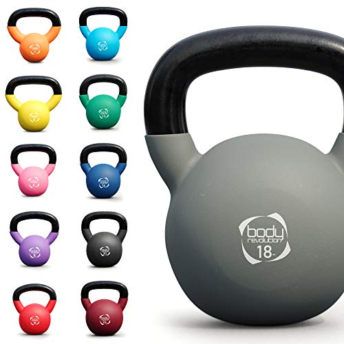 Body Revolution Kettlebells - Neoprene Coated Cast Iron Kettlebell - Range of Kettle Bells Sold Separately (18kg (Grey))