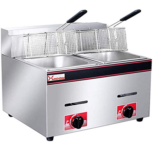 Fryers Commercial Gas - Deep Fryer Gas Fat Fryes 10+10L Countertop Deep Oil Fryer,Stainless Steel Dual Tank with Drain and Timer,Counter Top Chip Fryers Pan for Home and Commercial