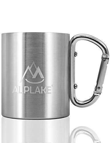 ALPLAKE® Doppelwandige Edelstahl-Tasse, Metall-Becher, Karabiner-Griff, 250 ml