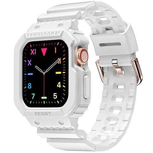 amBand Bracelet Compatible Apple Watch 44mm 42mm,Support Montre de Protection Accessoire,Sport Bracelet de Remplacement avec Coque Compatible avec iWatch Series 6 Se 5 4 3 2 1- Brightwhite