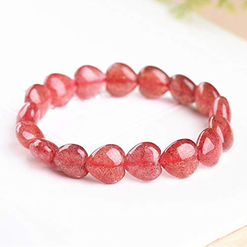Natural Ice Seed Strawberry Crystal Love Chakra Balancing Metaphysical Bracelet Feng Shui Lucky Gifts for Women Healing Attract Money for Good Fortune Courageous Wealth Bring Prosperity,12 * 12mm