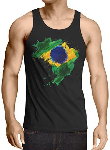 CottonCloud Flagge Brasilien Herren Tank Top Fußball Sport Brazil WM EM Fahne, Größe:XL, Farbe:Schwarz