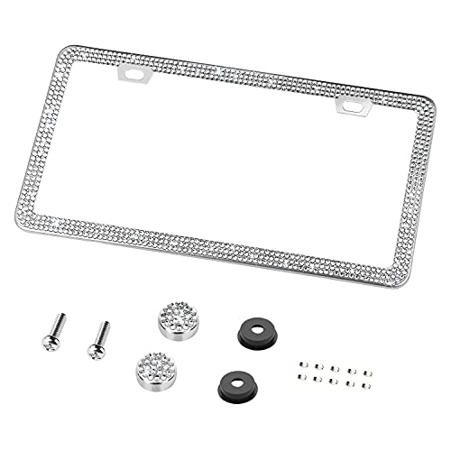 OKLPF Bling License Plate Frame for Women, 1PCS Sparkly Stainless Steel License Plate Frames| Over 1200 pcs 14 Facets Bedazzled Clear Glass Diamond Crystals w/Free Glitter Diamond Box (White)