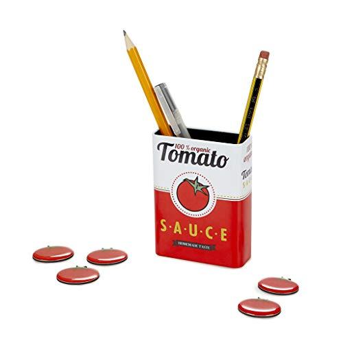 Balvi Pot à Crayons magnétique Tomato Sauce Couleur Rouge Pot au Design de tomates en Conserve avec Aimant pour stylos et Autres Accessoires pour Le réfrigérateur et Le Bureau Étain 9,5x7x3 cm