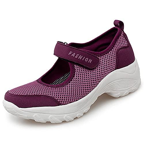 Sandalias para Mujer Malla Merceditas Plataforma Ligero Zapatillas Sneaker Mary Jane Casual Zapatos de Deporte Mocasines Negros Verano Rojo-D 39EU