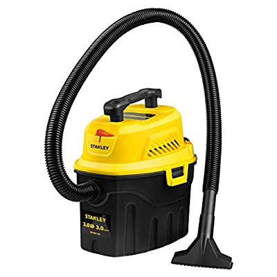 Stanley 3 Gallon Wet Dry Vacuum, 3 Peak HP Poly 2 in 1 Shop Vac with Powerful Suction, Multifunctional Shop Vacuum Car Vacuum W/ 3 Horsepower Motor for Auto Detailing, Tight Space Garage,Van,Vehicle