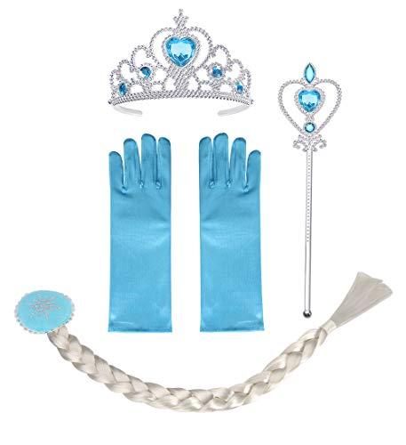 Vicloon Costumi da Principessa Set di 4 Pezzi, Set da Principessa dei Ghiacci, con Treccia,Diadema,Guanti,Bacchetta Magica