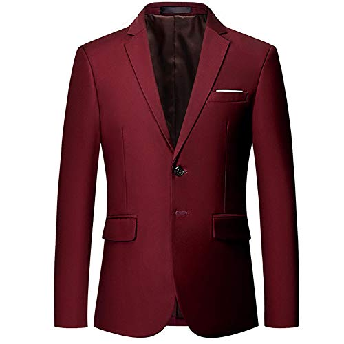 Mens Slim Fit Blazer Jacket Two-Button Notched Lapel Casual Suit Jacket Wine Red