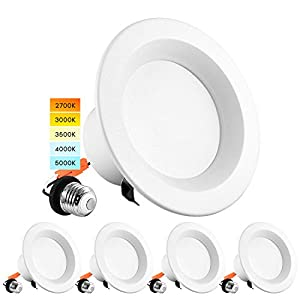Luxrite 4 Inch LED Recessed Can Lights, 10W=60W, CCT Color Selectable 2700K   3000K   3500K   4000K   5000K, Dimmable Retrofit Downlights, 750 Lumens, Energy Star, Wet Rated, ETL Listed (4 Pack)