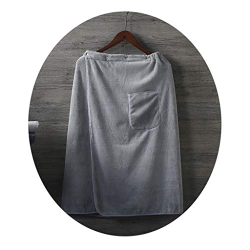 LGQ-YF Hombres Toalla Wrap, Absorbente Terry Longitud De La Rodilla De Baño del Algodón Cover Up Suave Sarong Toalla Ducha SPA Sauna Gimnasio Playa Towelling Robe (Color : Gray)