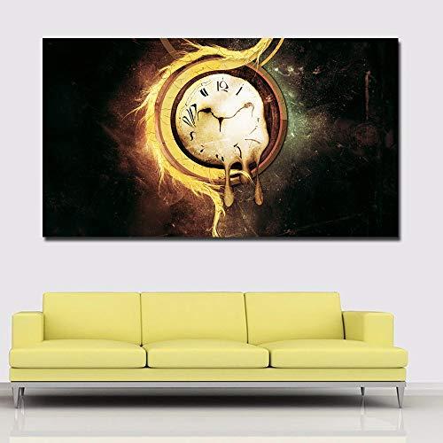 HD Druck Abstrakte Leinwand Malerei Abstrakte Kunst Uhr Surrealismus Malerei Wandbild Wohnzimmer Poster 50x90 cm