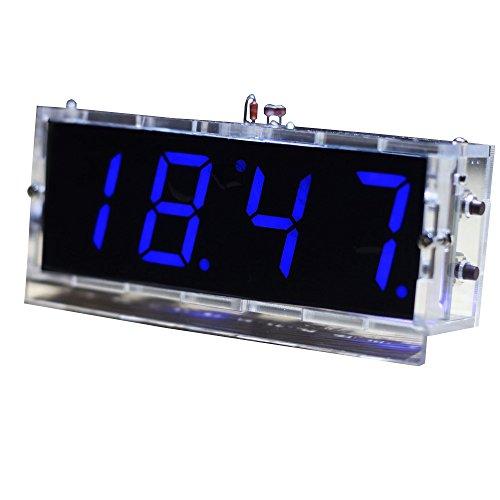 KKMOON Kompakte 4-stellige DIY LED Digitaluhr Kit Light Control Temperaturanzeige Datum Zeit mit transparenten Etui (Blau)