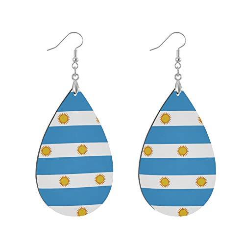 Orecchini pendenti in legno con bandiera dell'Argentina, orecchini pendenti in legno, per donne e ragazze e Senza metallo, colore: Foglia, cod. g60889856p559c595s1194