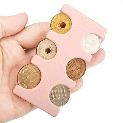 ANZOBEN コインホルダー 携帯 硬貨収納 小銭財布 軽量 コンパクト 片手で取り出せ ピンク