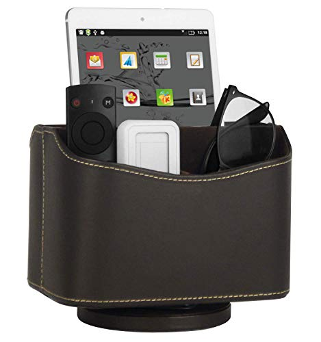 HofferRuffer Spinning Remote Control Holder, Remote Controller Holder, Remote Caddy, Media Storage Organizer, Spinning Remote Control Organizer, 7.3X 5.5 x 6 inches, Brown PU Leather