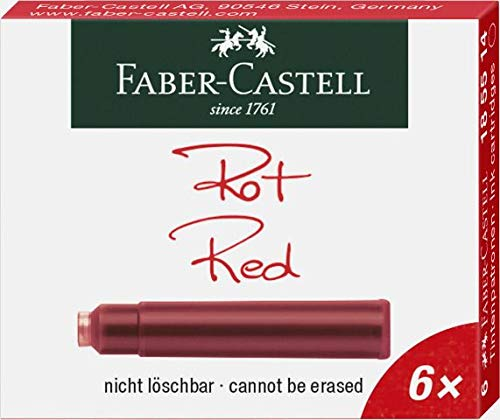 Faber-Castell 185514 - Tintenpatronen Standard, 6er Pack, rot