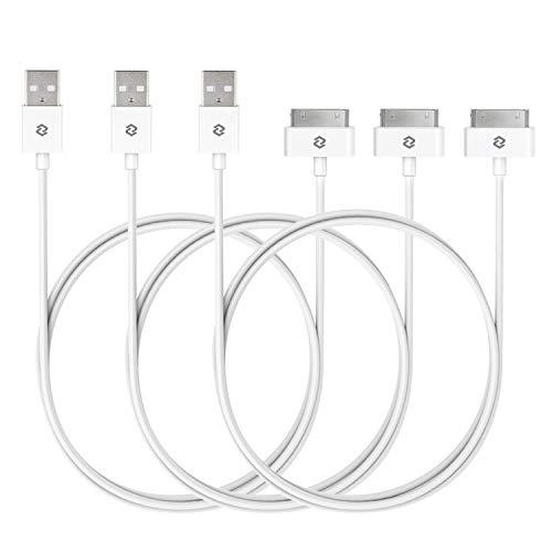JETech Cavo USB di Sync e Caricamento con 30-Pin per iPhone 4s / 4, iPad 1 2 3, iPod, 1 metro, Bianco, Confezione da 3