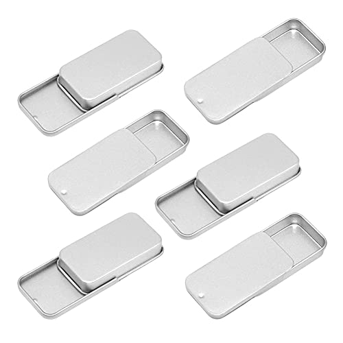 Empty Slide Top Tin Containers for Lip Balm, Crafts, Storage Kit - .25oz, 6 Pack