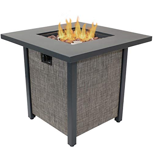 Sunnydaze Kleifar Metal Propane Fire Pit with Rafa Fabric Sides - Modern Smokeless Square Outdoor Fire Pit Table - Ideal for The Patio, Deck or Backyard - 25.25 Inches Tall