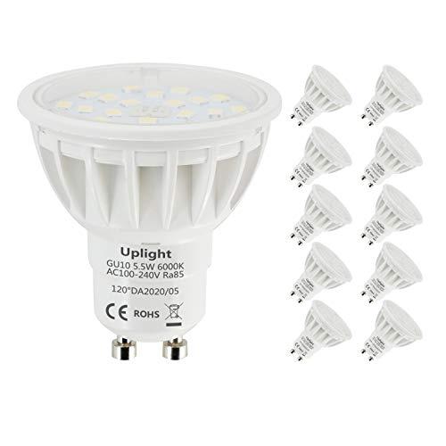 Uplight 5.5W GU10 LED Lampe Kaltweiß 6000K,Ersetz 50-60W GU10 Halogen Lampen,600lm 120° Abstrahlwinkel LED Leuchtmittel Ra85,10er Pack.