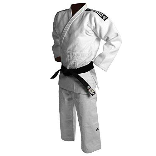 Judogi Adidas J730Champion II slimfit IJF bianco nero Stripes