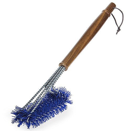 BBQ-Aid Grill Brush with Blue Nylon Bristles – Cleans All Angles, Large Wooden Handle – No Scratch Cleaning for Any Barbecue Grill: Char Broil & Ceramic