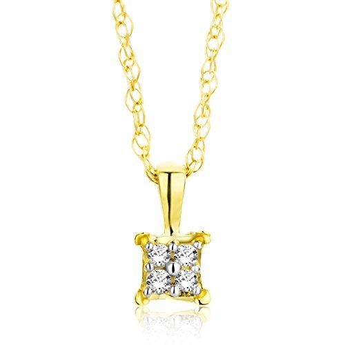 Orovi Collana - Pendente - Ciondolo Donna con Catena in Oro Giallo con Diamanti Taglio Brillante Oro 18 kt /750 Catenina Cm 45