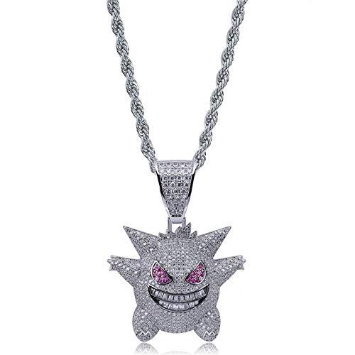 N/ Urbanice - Collana Gengar Hip Hop Diamanti con Catena (Trap) 60 cm e Rame, colore: argento, cod. 1