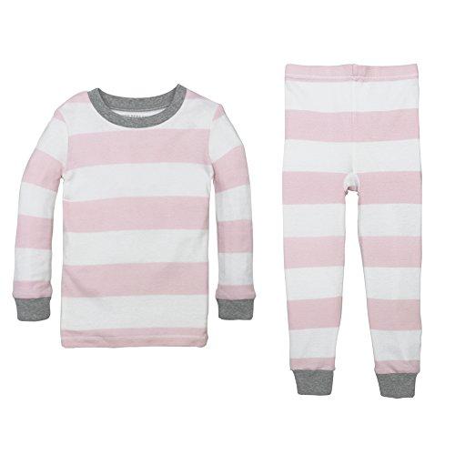 Burt's Bees Baby baby girls Pajamas, 2-piece Pj Set, 100% Organic Cotton (12 Mo-7 Yrs) and Toddler Pajama Bottoms, Blossom Rugby Stripe, 4T US