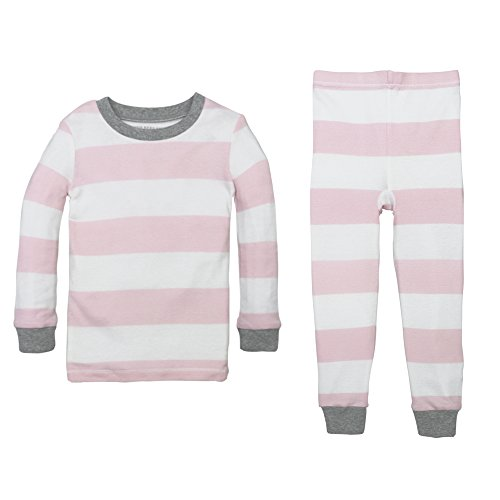 Burt's Bees Baby Baby Girls' Little Kid Pajamas, 2-Piece PJ Set, 100% Organic Cotton (12 Mo-7 Yrs), Blossom Rugby Stripe, 3T