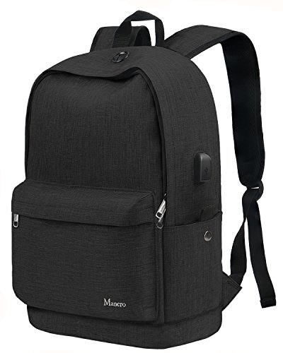 Mancro Mochila escolar escolar escolar Middle High Student Anti-Theft Laptop Backpack for Boy Girl Men Women, Water Resistant Tarvel Computer Bag with USB Charging Port Fit 15.6 inch Laptop Black